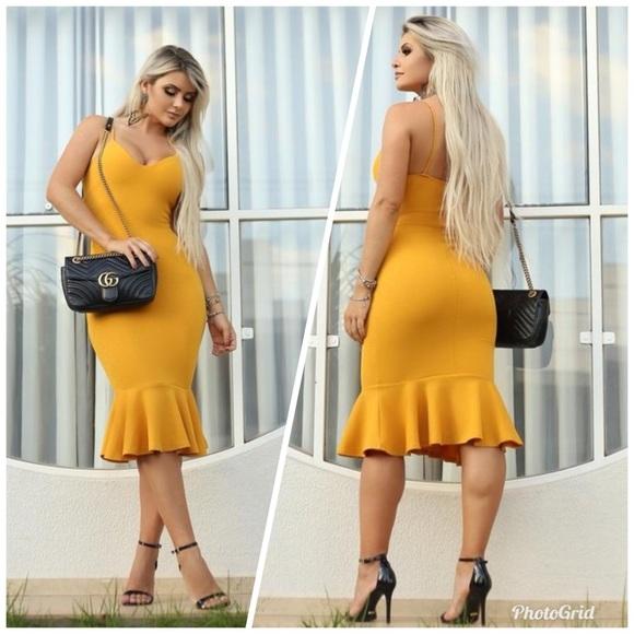 5f7f8c4662a9 Dresses | Mustard Flare Dress Size Small Left | Poshmark